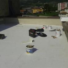 Rifacimento terrazzo di copertura con posa di pannello isolante pendenzato con manti sintetici img_8